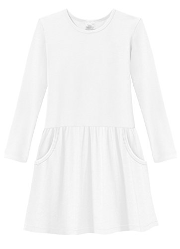 City Threads Little Girls' Cotton Party Jersey Drop Waist French Pocket Dress - Sensitive Skin and Sensory Friendly - School Summer, White, (Party City Job)