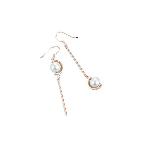 Pearl Earrings for Women Sterling Silver Hypoallergenic for Sensitive Ears Gold Gem Diamond Bezel Earrings Cultured Freshwater Dangle Drop Tassel Bar Earrings Fashion Gift for Her w/Box ()