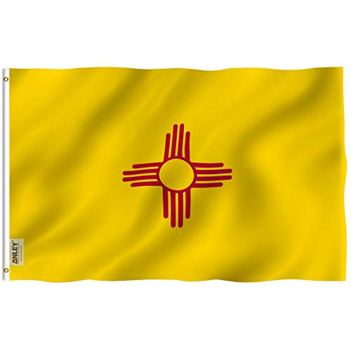 ANLEY |Fly Breeze| 3x5 Foot New Mexico State Flag - Vivid Color and UV Fade Resistant - Canvas Header and Double Stitched - New Mexico NM Flags Polyester with Brass Grommets 3 X 5 Foot