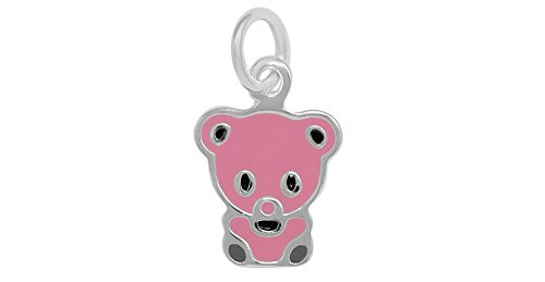 Pink Pig Charm - Sterling Silver Pink Enamel Cute Small Pig Charm (Approximately 8.5 x 10 mm)