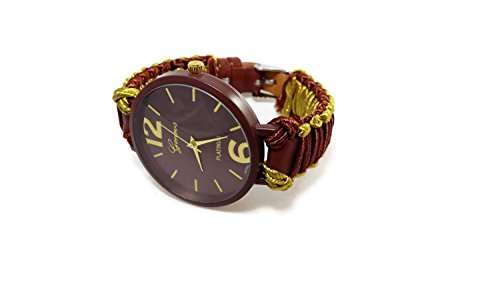 Brown gold strap large face wristwatch women Cord band bracelet watch Unique girlfriend birthday gift (Tone Two Handmade Band Woven)