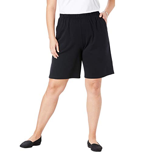 - Woman Within Women's Plus Size 7-Day Knit Short - Black, 2X