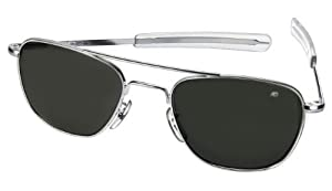 AO American Optical Original Pilot Sunglasses Silver 52mm Bayonet Temples