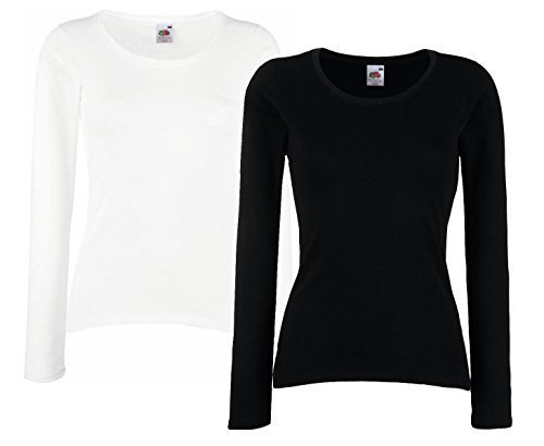 Fruit of The Loom Lady-Fit Valueweight T LSL Sudadera De Mujer Camisa Manga Larga Paquete doble Negro & Blanco