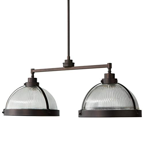 Stone Beam Contemporary Double Ribbed Glass Shade Ceiling Pendant Fixture With Light Bulbs – 36 x 13 x 12.25 Inches, Oil Rubbed Bronze