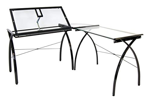 (Studio Designs Futura LS WorkCenter with Tilt Top Adjustable Drafting Table Craft Table Drawing Desk Hobby Table Writing Desk Studio Desk, Black / Clear Glass)