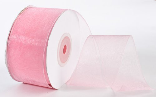 - 25 Yard Spool of Elegant Light and Sheer Pink Organza Ribbon- 1.5