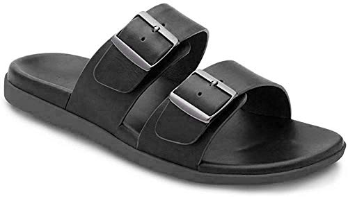 Vionic Mens Ludlow Charlie Slide Sandal - Adjustable Buckle Sandals with Concealed Orthotic Arch Support