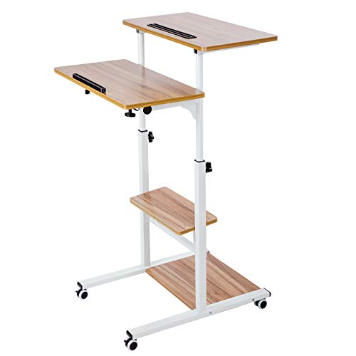 (BarleyHome Mobile Stand Up Desk, Adjustable Laptop Desk with Wheels Storage Desk Home Office Workstation, Rolling Table Laptop Cart for Standing or Sitting, Vinatge Oak)