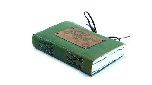 Mythrojan Medieval Renaissance Green Jester Leather Handmade Notebook Diary Journal Log