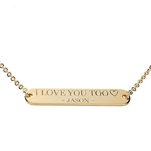 SAME DAY SHIPPING GIFT TIL 2PM CDT A Custom Message Bar Necklace 16k Gold Silver RoseGold - Plated Round Edge Your name necklace Wedding Family Valentine Anniversary Christmas Thanksgiving Gift idea