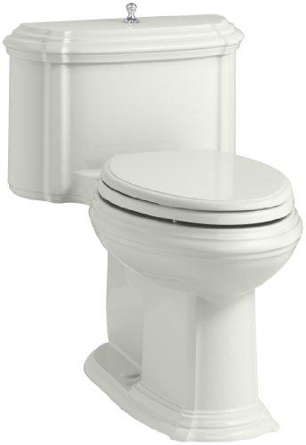 (KOHLER K-3826-NY Portrait Comfort Height Compact Elongated 1.28 GPF Toilet with Aqua Piston Flush Technology and Lift Knob Actuator, Dune)