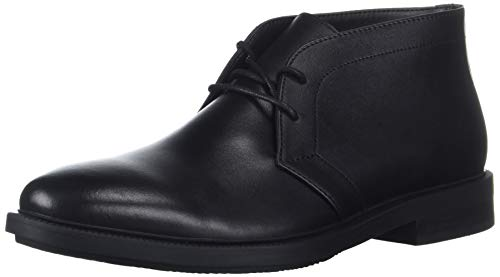 Calvin Klein Men's CAM Smooth Calf Leather Chukka Boot, Black, 8 M M US