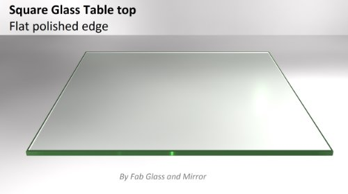 24'' Inch Square Clear Glass Table Top 1/4'' Thick Flat Polished Tempered Eased Corners by Fab Glass and Mirror by Fab Glass and Mirror