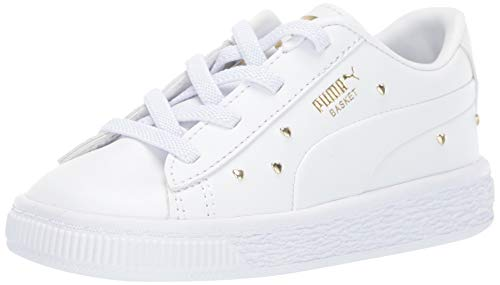 PUMA Girls' Basket Studs Sneaker White Team Gold, 5 M US Toddler ()