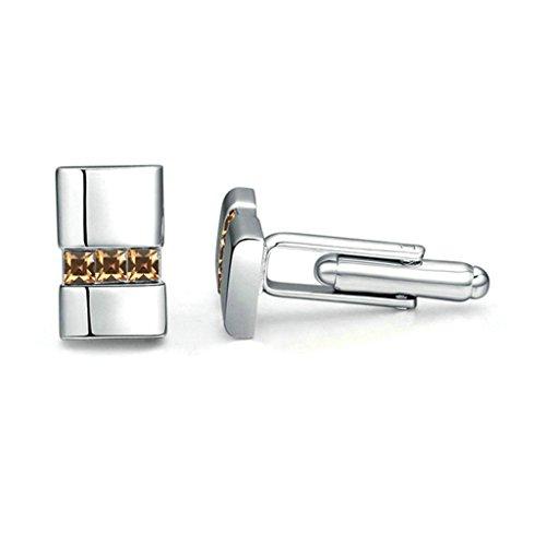 Aooaz Silver Plated Cufflinks Square Crystal Cuff Links For Men Women Wedding Yellow CZ 1.7CM1.1CM