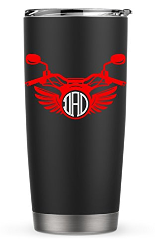 Harley Motorcycle Wings Monogram Decal Sticker for Laptop Dorm Car Yeti RTIC Ozark Tumbler or Cup ()