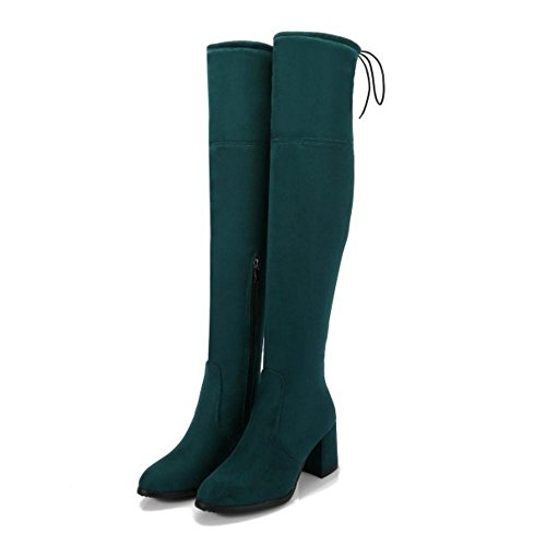 COOLCEPT Damen Stiefel Zipper Langschaft Green