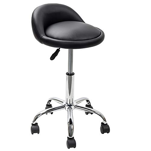 (Display4top Adjustable Height Hydraulic Rolling Swivel Stool with Back Rest for Beauty Salon Tattoo Massage Facial Spa(Black))