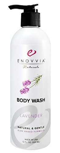 100 % Pure Shower Gel Organic Lavender - Enovvia Natural Lavender Body Wash with Organic Aloe, Lightly Scented with 100% Pure Lavender Essential Oil, SLS and Sulfate-Free, 12 Ounce Bottle with Pump