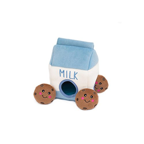 ZippyPaws - Food Buddies Burrow, Interactive Squeaky Hide and Seek Plush Dog Toy - Milk and Cookies (Dog Dumpling)