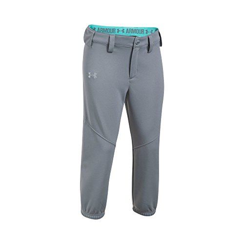 Under Armour Girls' Base Runner Softball Pants, Steel/Blue Infinity, Youth Medium