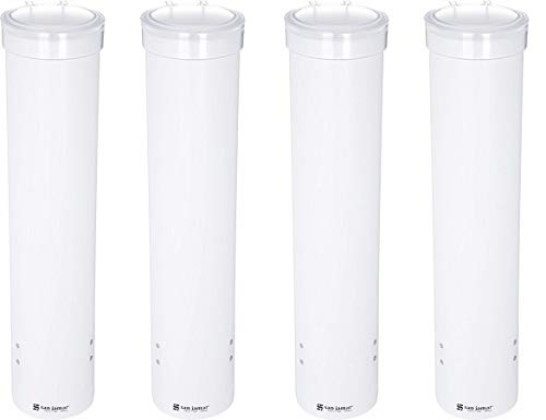 San Jamar C3165WH Medium Pull Type Water Cup Dispenser, Fits 4 to 10 oz Cone and Flat Bottom Cups, 16'' Tube Length, White (4-(Pack))