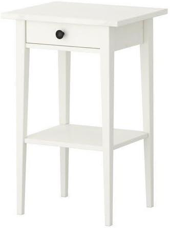 IKEA HEMNES – Mesa auxiliar con cajón, color blanco barnizado ...