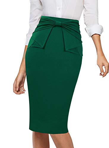 VFSHOW Womens Pleated Bow High Waist Slim Work Office Business Pencil Skirt 865 GRN M