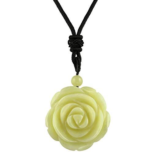 rockcloud Hand Carved Lemon Jade Rose Flower Crystal Stone Pendant Necklace for Women - Lemon Jade Necklace