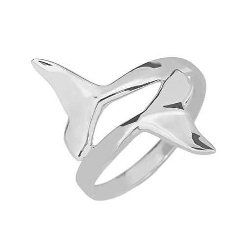 Double Dolphin Whale Tail Wrap Ring in Fine 925 Sterling Silver (Size 6) -
