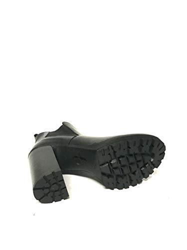 Nero Tacco Caviglia Zeta Stivaletti Shoes Elastico Alla Plateau Pelle Alto xIB064WBqw