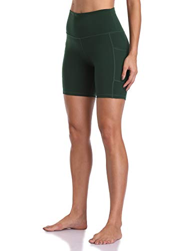 "Colorfulkoala Women's High Waisted Yoga Shorts with Pockets 6"" Inseam Workout Shorts (XS, Forest Green)"