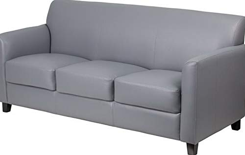 (Campton Diplomat Series Gray Leather Sofa - Reception Guest Lounge Furniture | Model LNGCHR - 261)