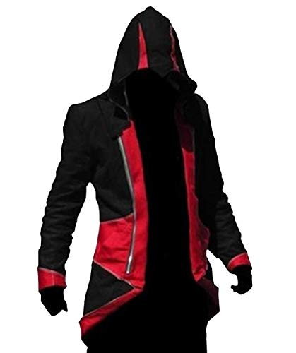 TEENTAGE Men's Costume Hoodie Jacket Cosplay Coat with Attachable Hood,Black and Red,Men-Medium