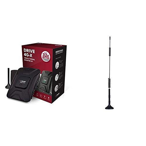 weBoost Drive 4G-X 470510 Cell Phone Signal Booster & Wilson Electronics Dual-Band Magnet Mount Antenna 800/1900 MHz Omni Directional w/ 12.5 ft. RG174 Cable and SMA Male Connector