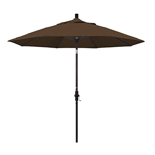 California Umbrella 9' Round Aluminum Market Umbrella, Crank Lift, Collar Tilt, Bronze Pole, Teak Olefin