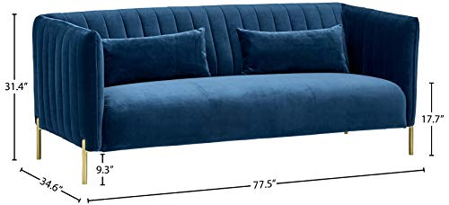 """Amazon Brand – Rivet Frederick Mid-Century Modern Tufted Velvet Sofa Couch, 77.5""""W, Navy Blue - The rectangular shape and channeled upholstery are unmistakably mid-century, while velvet fabric and shiny metal legs bring glamour to this sofa. This piece is a stunning style statement and a conversation starter for your modern-style room. 77.5""""W x 34.6""""D x 31.4""""H; Seat Height: 17.7""""H ; Seat Depth: 23.2""""D; Seat Back Height: 22.2""""H; Arm Height: 31.4""""H; Leg Height: 9.3""""H Velvet fabric on sturdy wood frame; aluminum legs with brass finish - sofas-couches, living-room-furniture, living-room - 31tJOGS9aoL -"""