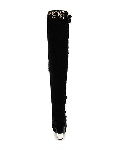 Cn36 La Punta us6 De Botas Eu39 Zapatos Vellón Uk6 Uk4 Xzz Mujer Vestido Plataforma Cn39 Tacón Moda Casual Eu36 Black Redonda A us8 Negro Black Robusto n4xvY8qw8B