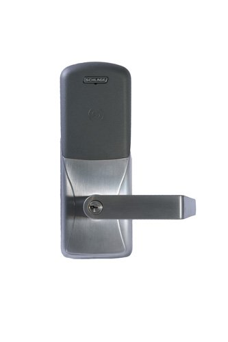Schlage CO-200 Series Standalone Electronic Lockset, Proximity Reader, Cylindrical Lock, Schlage Cylinder Keyway, Rhodes Lever, Satin Chrome Finish, For Classroom or Storeroom ()