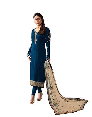 Delisa Indian/Pakistani Fashion Dresses for Women (Crape Blue, LARGE-42)