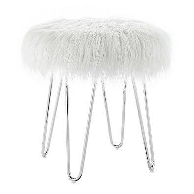 4 Chrome Splayed Legs Faux Fur Ottoman in White