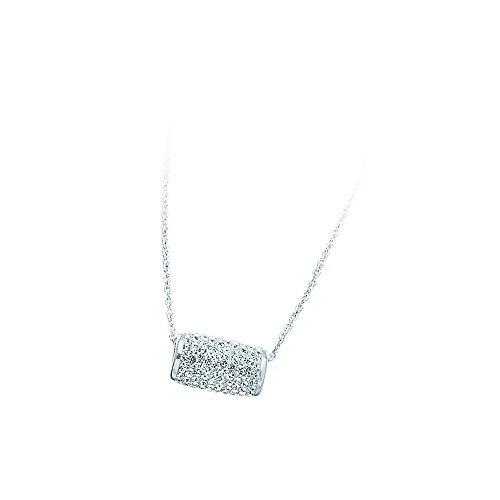 Sterling Silver Rhodium Plated Crystal Barrel Slide Necklace - 18 (Rhodium Plated Crystal E Slide)