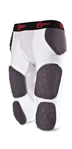 Cramer Lightning 7 Pad Football Girdle With Integrated Hip, Tailbone and Thigh Pads, Anti-Bacterial and Moisture-Wicking Fabric, Great Protection Without Impeding Athletic Performance, White, - Girdle Pants