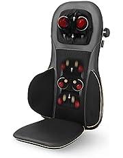 Medisana MC 825 Shiatsu-massagekussen, massagezitkussen met acupressuur, nekmassage, opwarmfunctie, 3 intensiteiten, roodlichtfunctie, met afstandsbediening voor rug en nek,Eén maat,Zwart