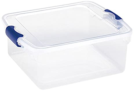 Homz Plastic Storage, Modular Stackable Storage Bins With Blue Latching  Handles, 15.5 Quart,