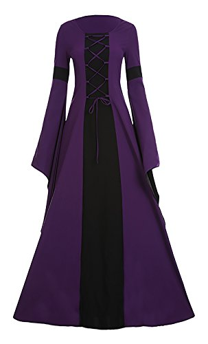 Meilidress Women Medieval Dress Lace Up Vintage Floor Length Cosplay Retro Long Dress Purple -