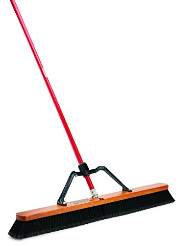 Libman Commercial 850 Smooth Surface Heavy Duty Push Broom, 65'' Length, 36'' Width, Black/Red (Pack of 3) by Libman Commercial