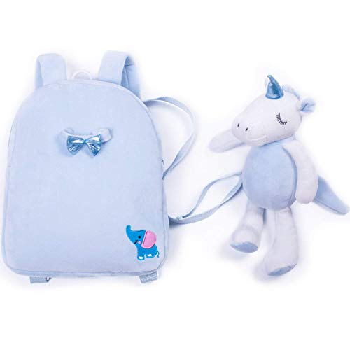 Toddler Backpack-Pre-School Kindergarten Toddler Bag with Leash Safety Harness and Detachable 3D Cartoon Animals Toy Preschool Backpack for 1-6 Years(Blue Unicorn) ()