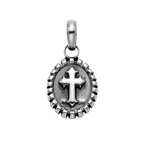 Wildthings Ltd Sterling Silver Florentine Cross in Oval Frame ()